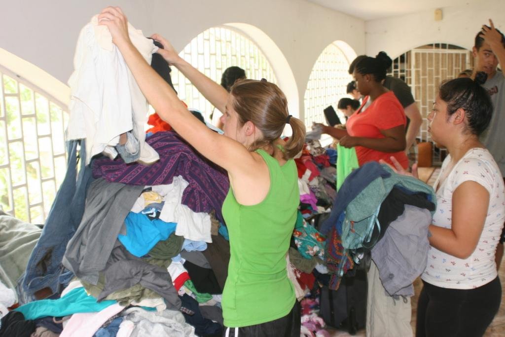 Unpacking clothes and supplies